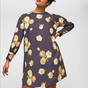 Loft Plus Gray With Yellow Floral Shift Dress